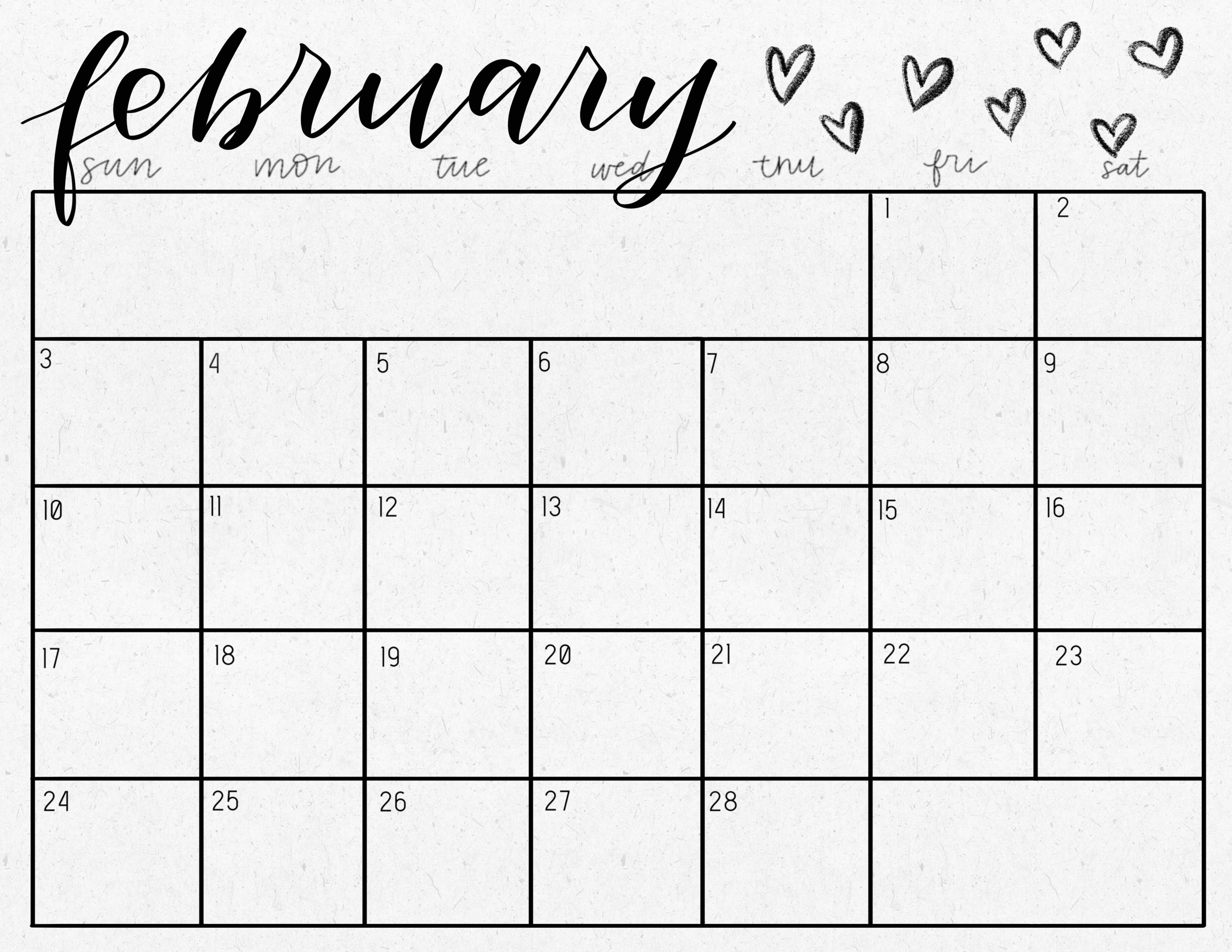 Freebie February 2019 Calendar Printable Carrie Crista